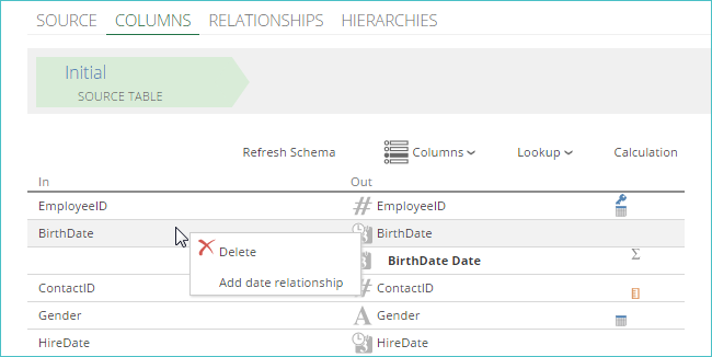Creating a Relationship Using a Column