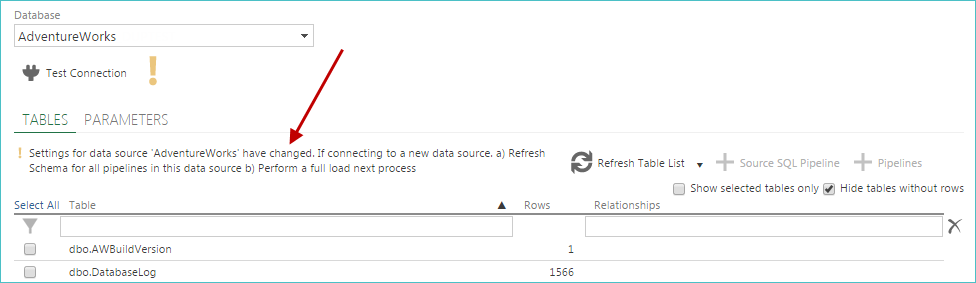 Altering the Data Source's Settings